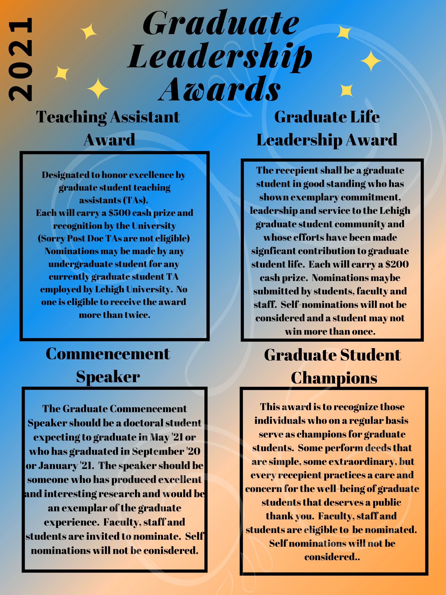 Graduate Leadership Awards and Teacher Assistant of the Year Award